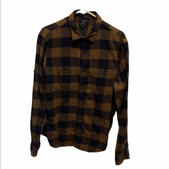 J.Crew Blue and Brown Check Men's Flannel Large